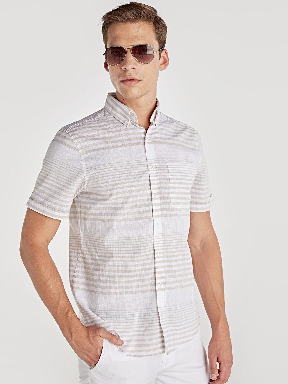 Bej Slim Fit Kısa Kollu Çizgili Poplin Gömlek 9SV269Z8 LC Waikiki