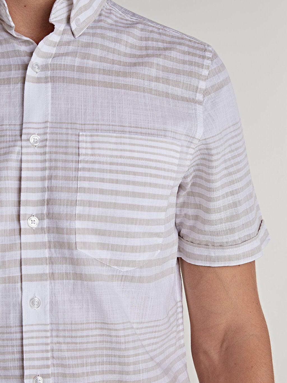 %100 Pamuk Slim Fit Kısa Kollu Çizgili Poplin Gömlek