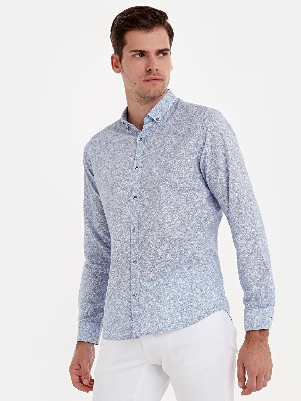 Mavi Slim Fit Desenli Uzun Kollu Poplin Gömlek 9SV276Z8 LC Waikiki