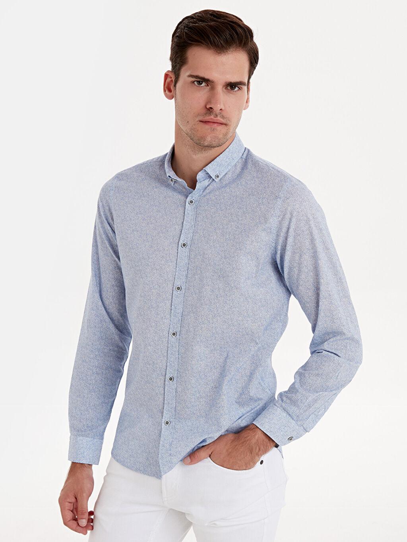 %100 Pamuk Desenli Uzun Kol Gömlek Düğmeli Dar Slim Fit Desenli Uzun Kollu Poplin Gömlek