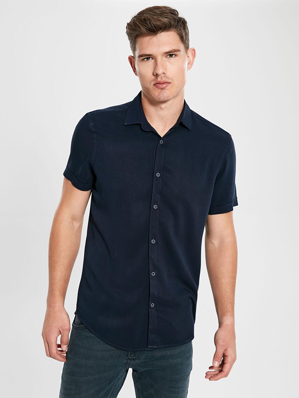 %100 Viskoz Düz Kısa Kol Gömlek Düğmesiz Dar Slim Fit Kısa Kollu Poplin Gömlek