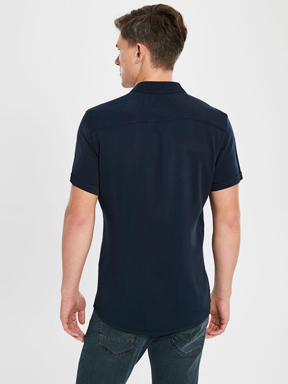 %100 Viskoz Slim Fit Kısa Kollu Poplin Gömlek