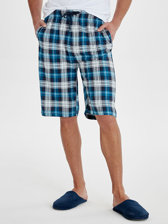 %100 Pamuk Standart Pijamalar Standart Kalıp Ekose Pijama Alt
