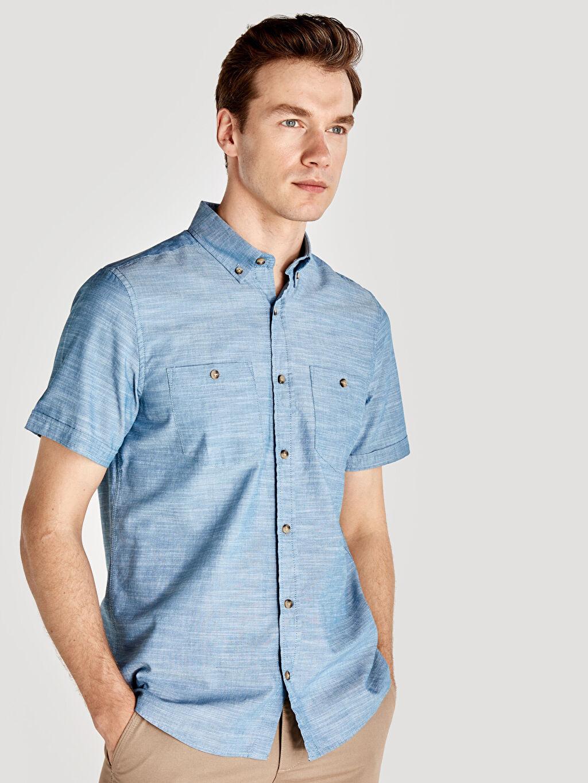 %100 Pamuk Normal Düz Kısa Kol Düğmeli Regular Fit Kısa Kollu Basic Poplin Gömlek
