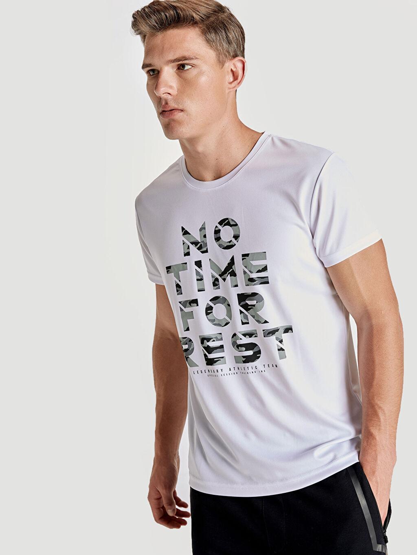 %100 Polyester Baskılı Standart Kısa Kol Tişört Bisiklet Yaka Bisiklet Yaka Baskılı Aktif Spor Tişört