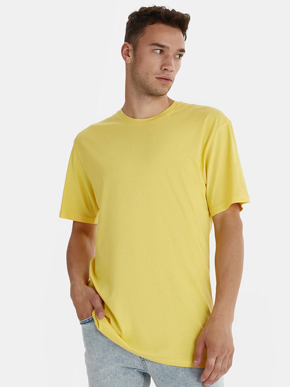 Sarı Bisiklet Yaka Kısa Kollu Basic Oversize Tişört 9SY844Z8 LC Waikiki