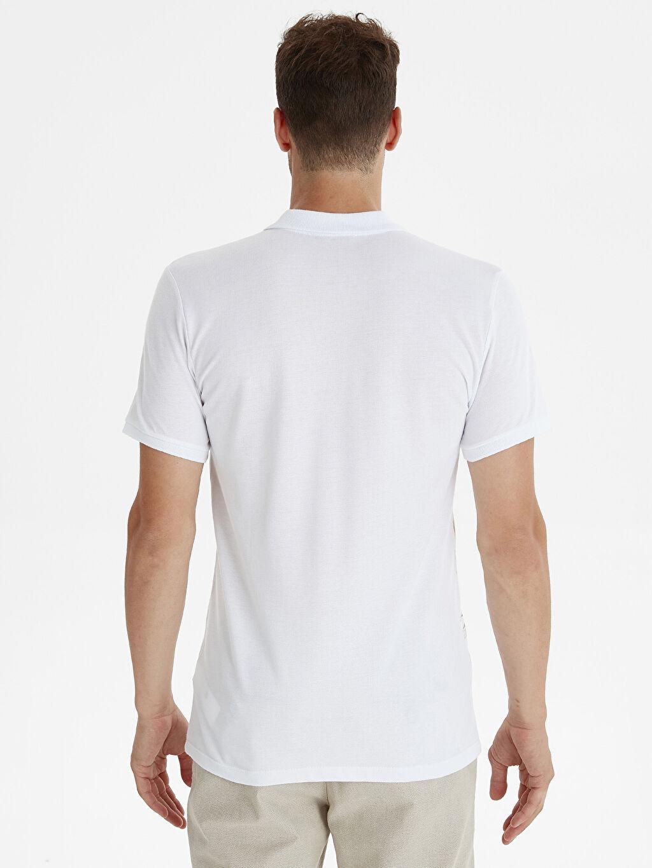 %100 Pamuk Baskılı Kısa Kol Tişört Polo Dar Slim Fit Polo Yaka Baskılı Kısa Kollu Pike Tişört