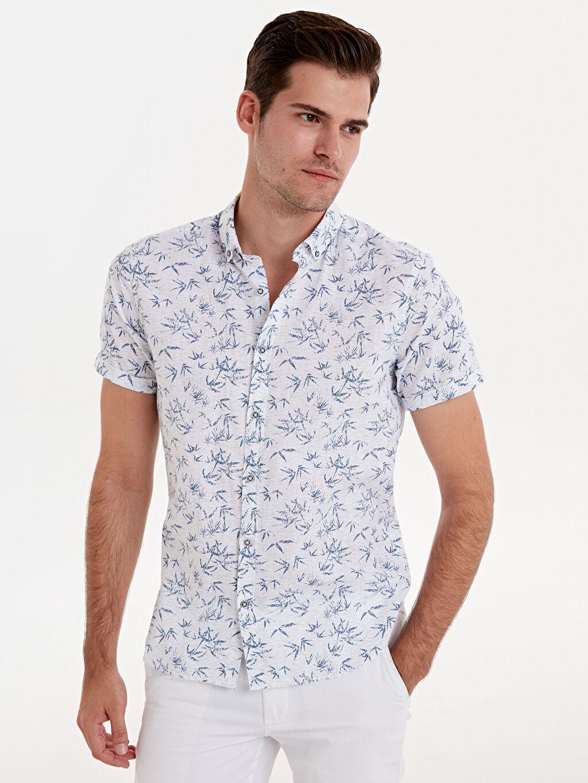 Beyaz Slim Fit Desenli Kısa Kollu Poplin Gömlek 9SA376Z8 LC Waikiki