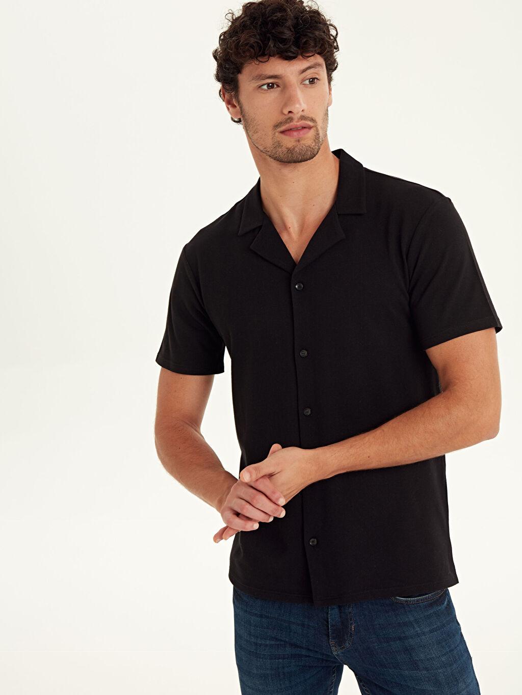 Siyah Slim Fit Kısa Kollu Pike Gömlek 9SA602Z8 LC Waikiki