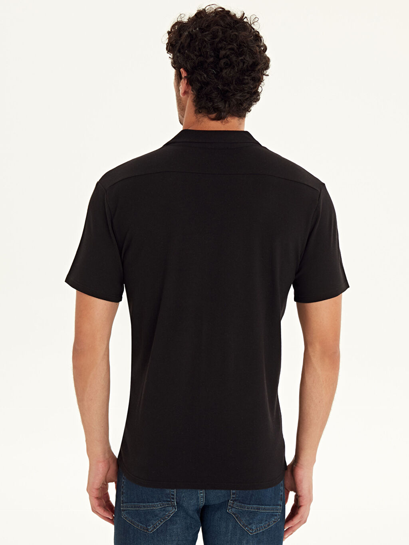 Erkek Slim Fit Kısa Kollu Pike Gömlek