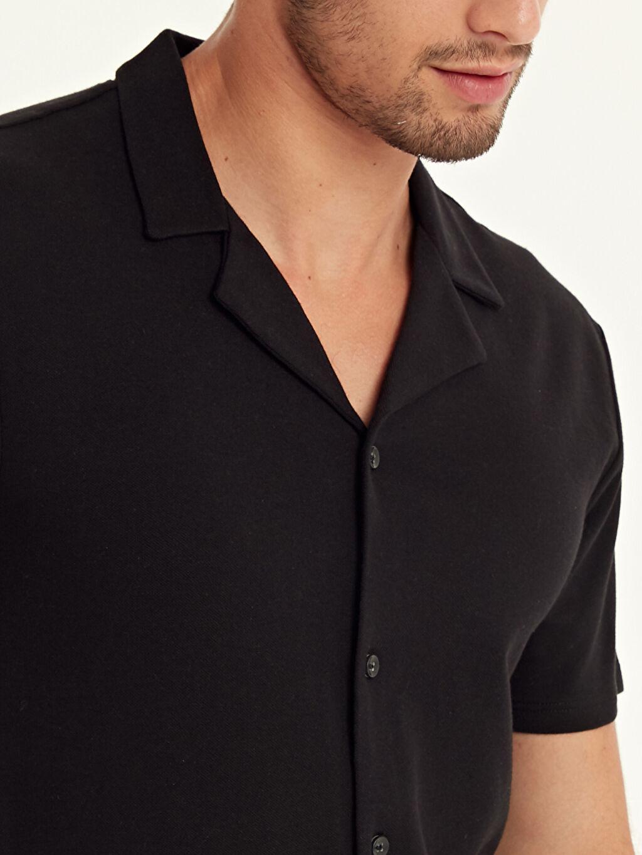%100 Pamuk Slim Fit Kısa Kollu Pike Gömlek