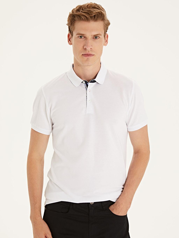 %100 Pamuk Dar Düz Kısa Kol Tişört Polo Slim Fit Polo Yaka Kısa Kollu Pike Tişört