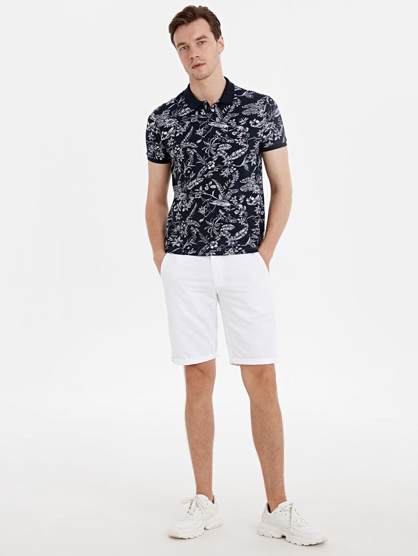 Erkek Slim Fit Polo Yaka Çiçek Desenli Tişört