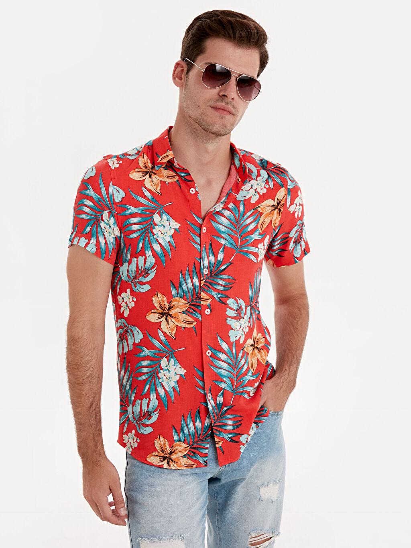 Kırmızı Slim Fit Desenli Kısa Kollu Gömlek 9SB975Z8 LC Waikiki