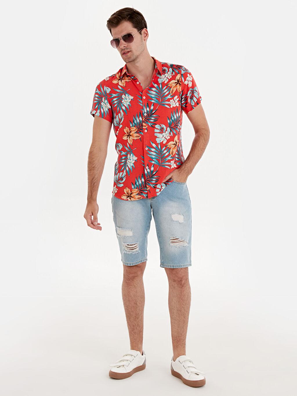 Erkek Slim Fit Desenli Kısa Kollu Gömlek