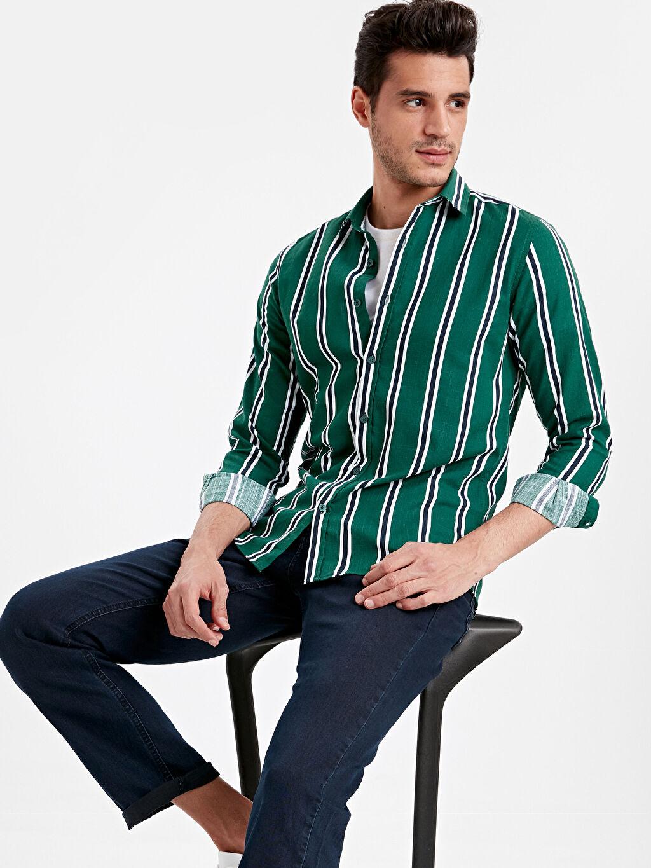 Yeşil Ekstra Dar Kalıp Çizgili Uzun Kollu Poplin Gömlek 9SC496Z8 LC Waikiki