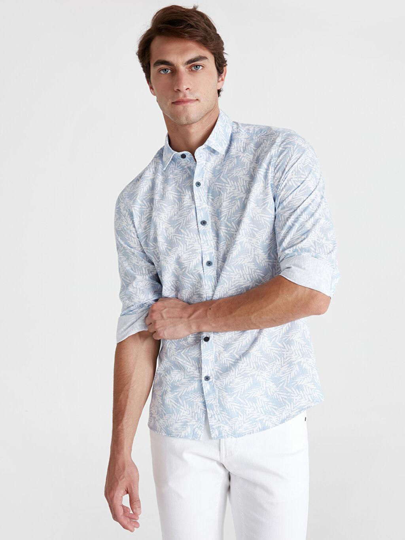%100 Pamuk Uzun Kol Düğmesiz Desenli Normal Gömlek Regular Fit Çiçek Baskılı Uzun Kollu Poplin Gömlek