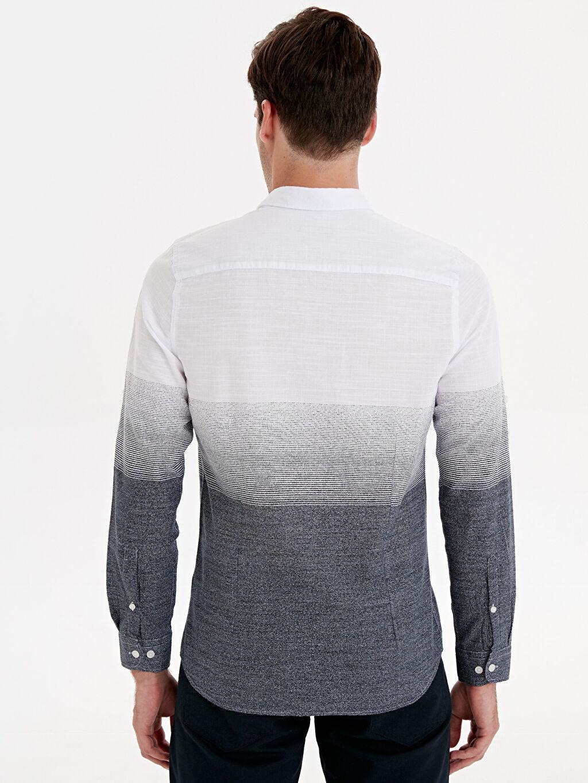 Erkek Ekstra Dar Kalıp Çizgili Uzun Kollu Poplin Gömlek