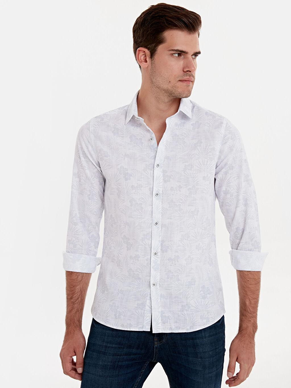 %100 Pamuk Desenli En Dar Gömlek Düğmesiz Uzun Kol Ekstra Dar Kalıp Desenli Uzun Kollu Gömlek