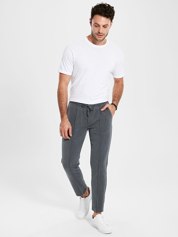 Gri Slim Fit Bilek Boy Poliviskon Pantolon 9SC541Z8 LC Waikiki