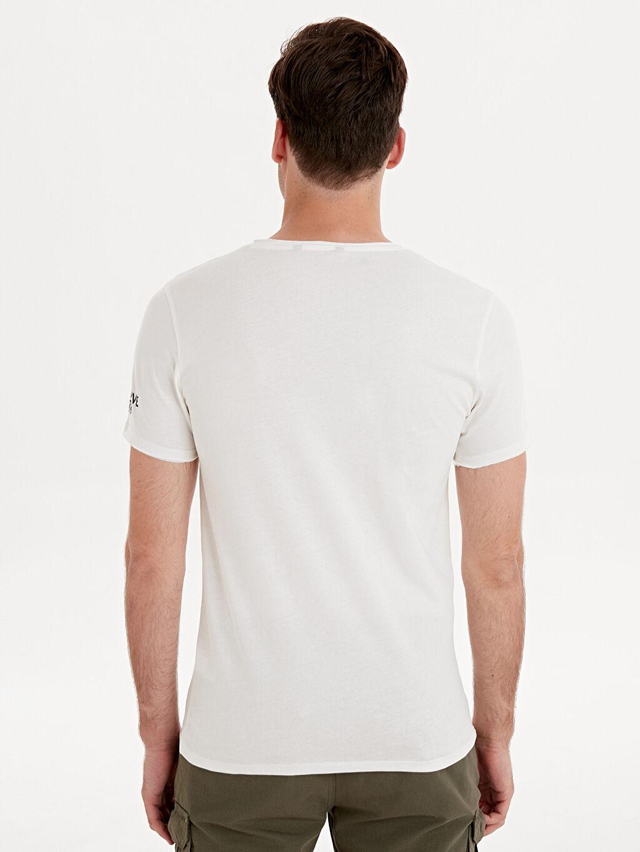 Erkek Bisiklet Yaka Baskılı Pamuklu Tişört