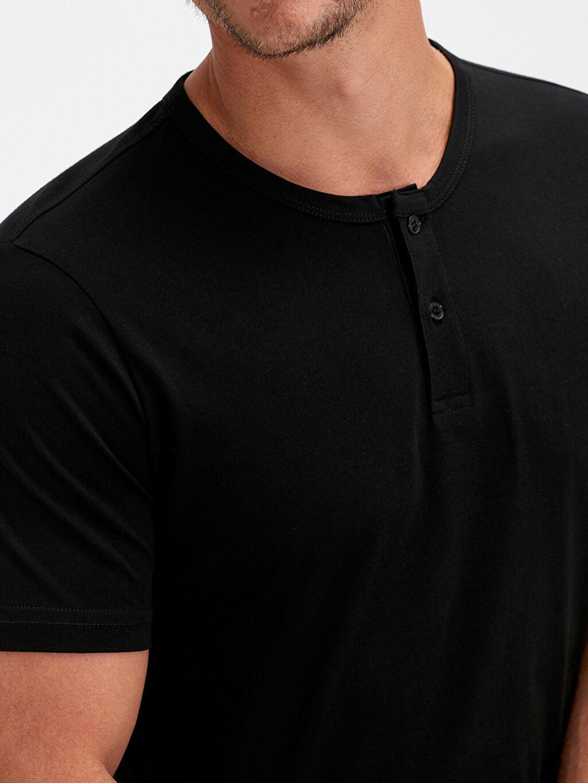 Erkek Pat Yaka Basic Pamuklu Tişört