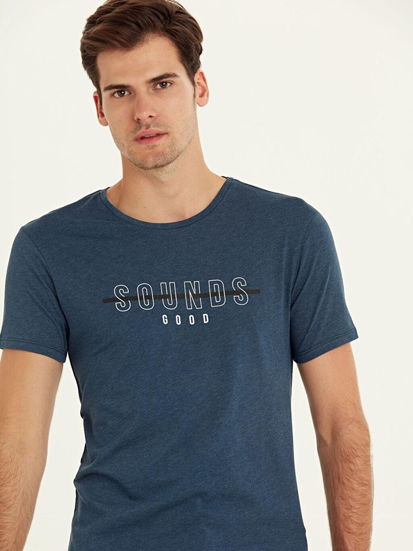 Erkek Bisiklet Yaka Baskılı Kısa Kollu Pamuklu Tişört