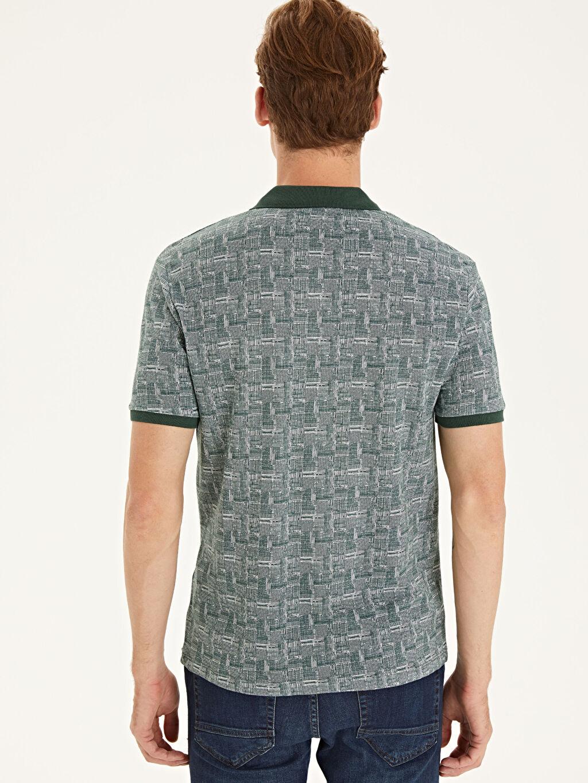 Erkek Slim Fit Polo Yaka Baskılı Pike Tişört