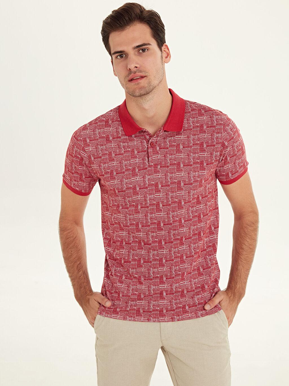 %100 Pamuk Baskılı Kısa Kol Tişört Polo Dar Slim Fit Polo Yaka Baskılı Pike Tişört