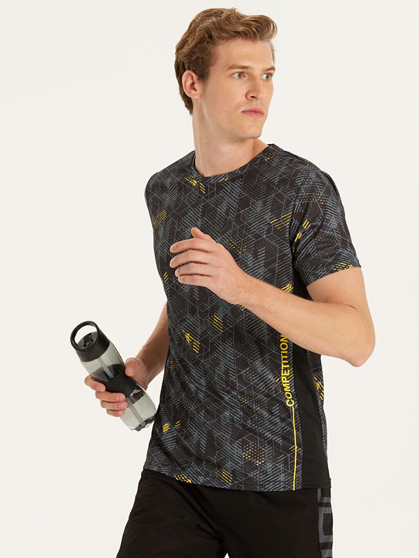 Siyah Bisiklet Yaka Baskılı Aktif Spor Tişört 9SC891Z8 LC Waikiki
