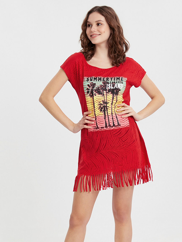 Kırmızı Püskül Detaylı Baskılı Elbise 9S0601Z8 LC Waikiki