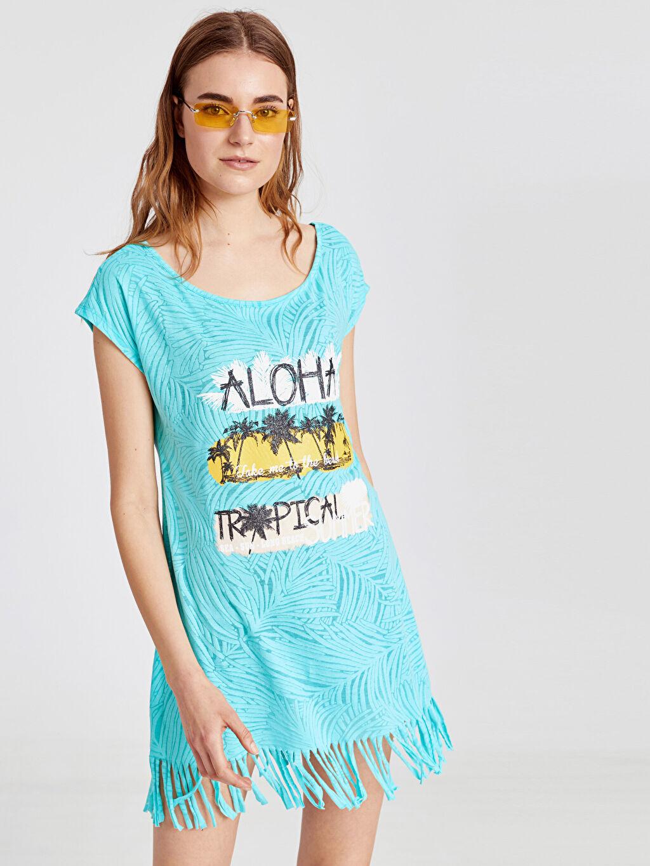%42 Pamuk %58 Polyester Pareo Püskül Detaylı Baskılı Elbise