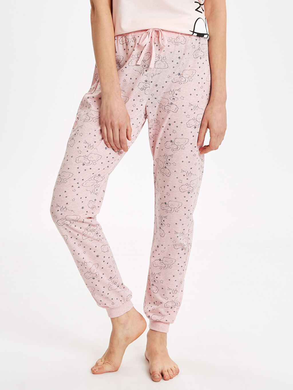 %47 Pamuk %53 Polyester Standart Pijamalar Desenli Jogger Pijama Altı