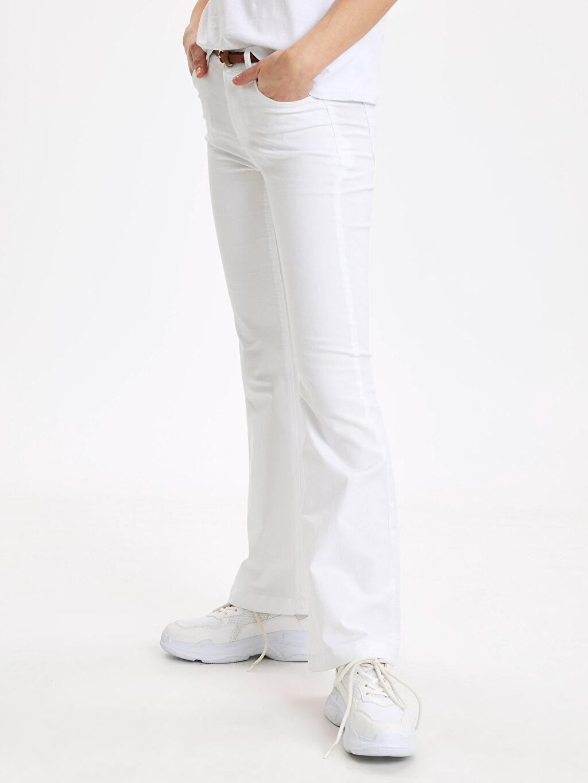 %62 Pamuk %33 Polyester %5 Elastan Normal Bel Standart Esnek İspanyol Paça Kemerli Pantolon Kemerli İspanyol Paça Pantolon