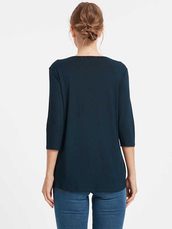 %97 Viskoz %3 Elastan Standart Nakışlı Tişört Diğer Pul İşlemeli Tişört