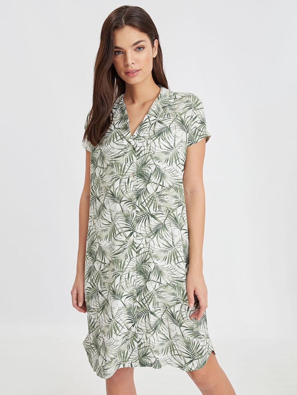 Yeşil Desenli Viskon Deniz Elbisesi 9S2508Z8 LC Waikiki