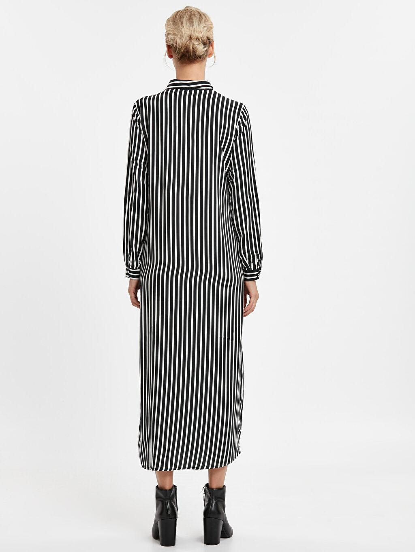 %100 Viskoz Uzun Çizgili Uzun Kol Uzun Viskoz Çizgili Elbise