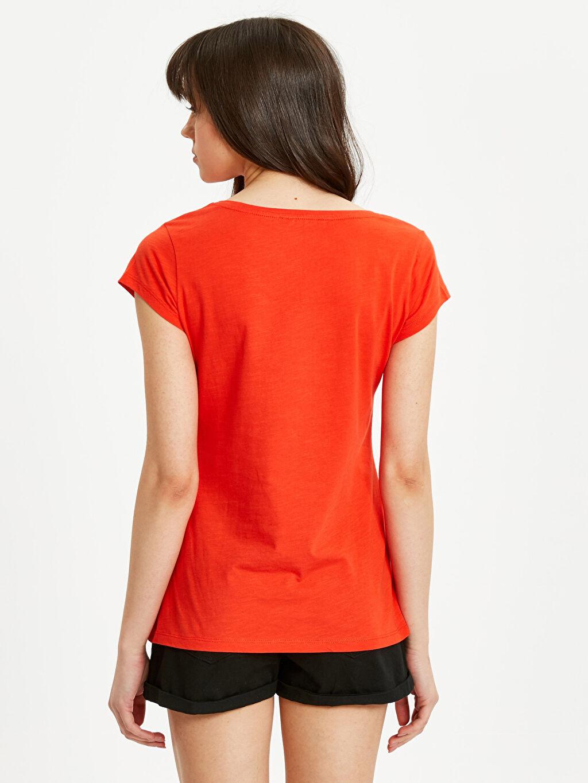 %100 Pamuk Standart Düz Kısa Kol Tişört V yaka Cep Detaylı Düz Pamuklu Tişört