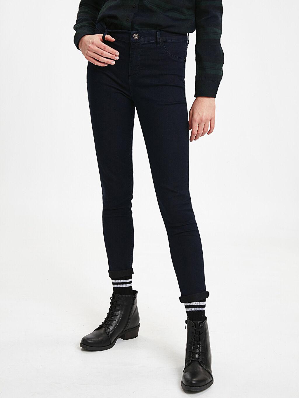 %80 Pamuk %17 Polyester %3 Elastan Esnek Dar Jean Yüksek Bel Bilek Boy Super Skinny Jean Pantolon
