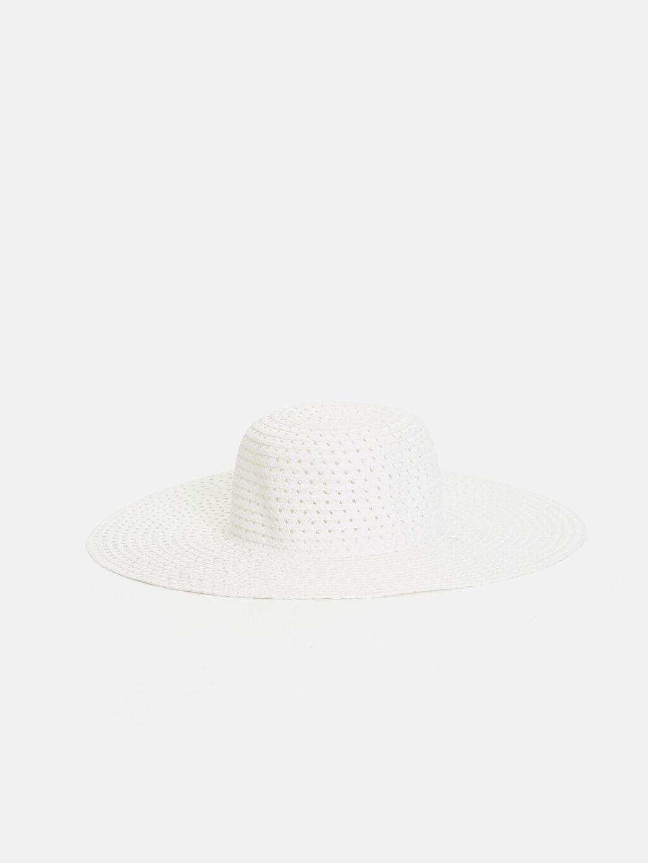 Beyaz Hasırlı Fötr Şapka 9S5247Z8 LC Waikiki