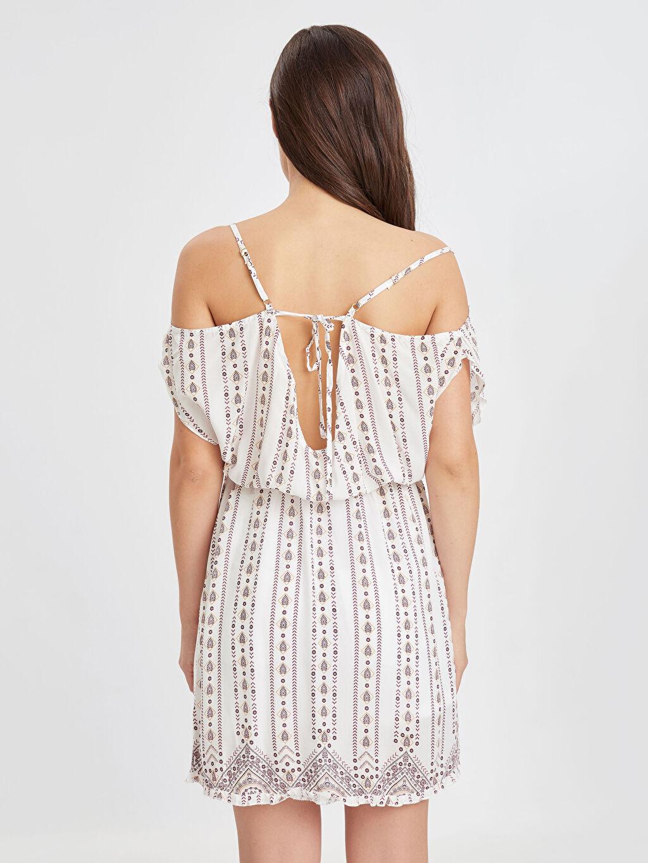 Kadın Sırt Detaylı Omuzları Açık Viskon Elbise