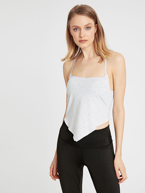 %45 Pamuk %50 Polyester %5 Elastan Standart İç Giyim Üst Asimetrik Detaylı Sporcu Sütyen