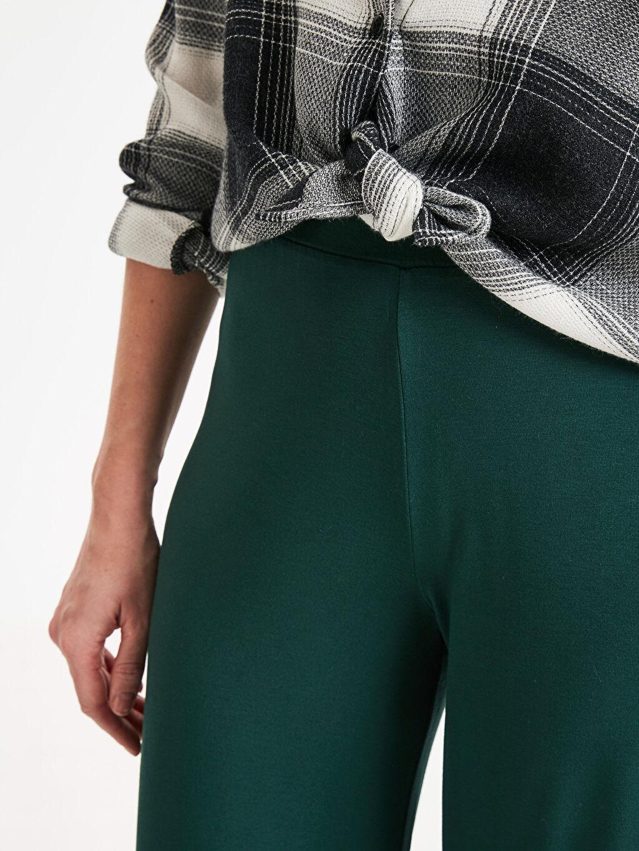 %97 Viskon %3 Elastan Beli Lastikli Kısa Paça Pantolon