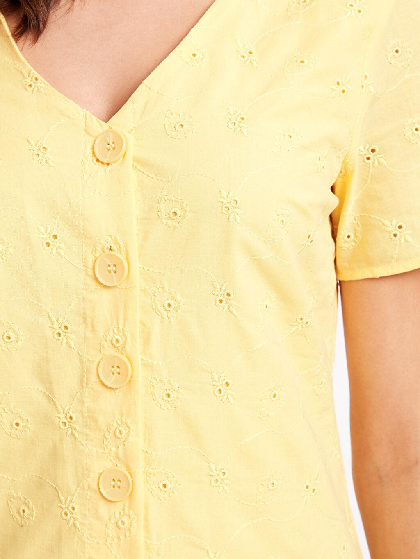 Kadın Fistolu Pamuklu Gömlek Elbise