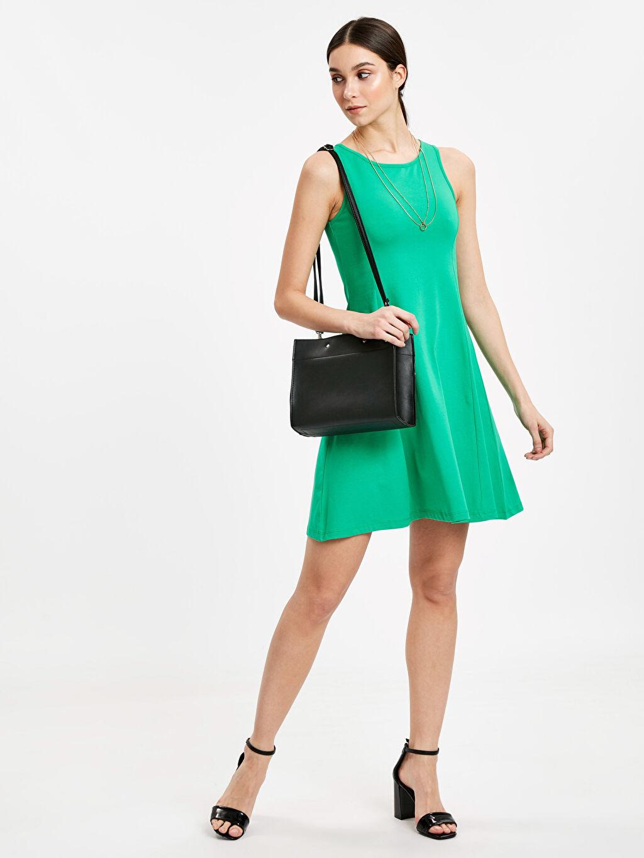 Yeşil Sırt Detaylı Pamuklu Elbise 9S9225Z8 LC Waikiki
