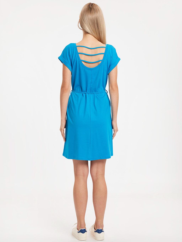 %100 Pamuk Diz Üstü Düz Kısa Kol Beli Bağlama Detaylı Pamuklu Elbise