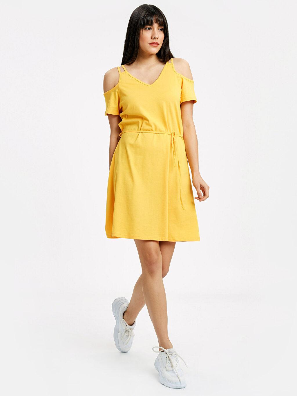 Sarı Omuzları Açık Pamuklu Elbise 9S9356Z8 LC Waikiki