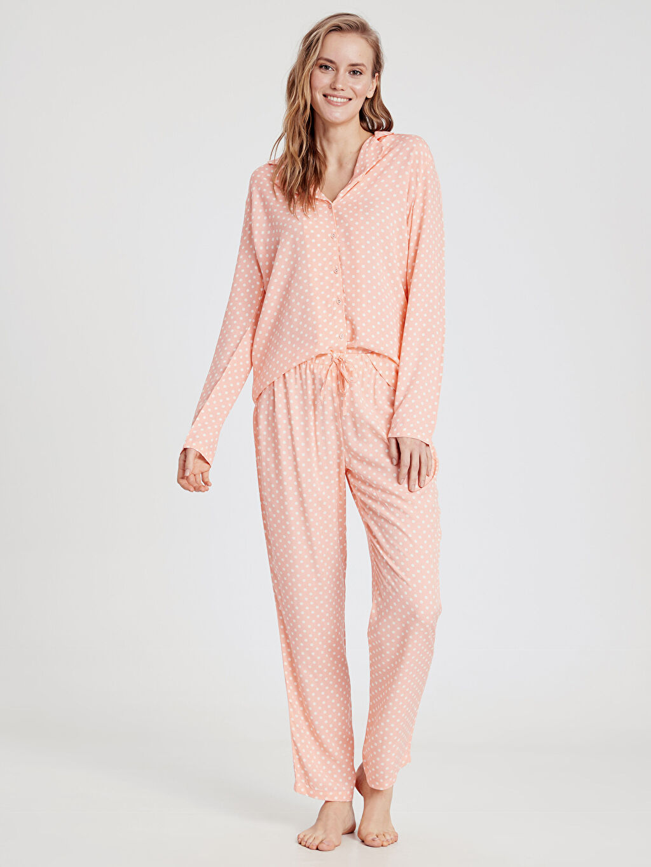 %100 Viskoz Pijamalar Puantiyeli Pijama Takımı