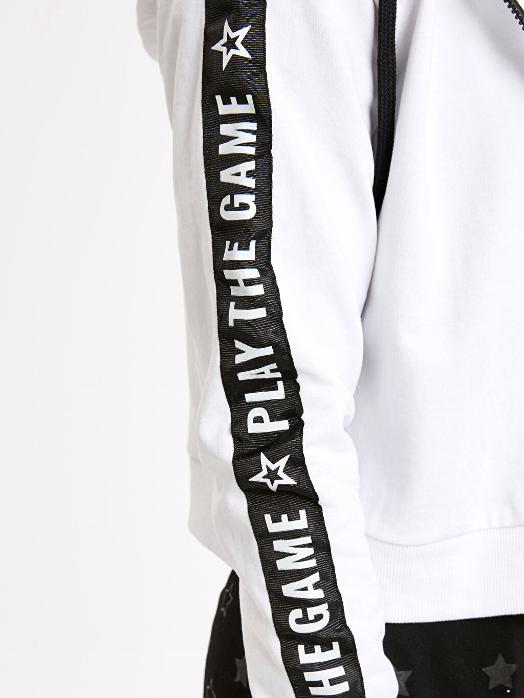 Kolları Şerit Slogan Detaylı Kapüşonlu Sweatshirt