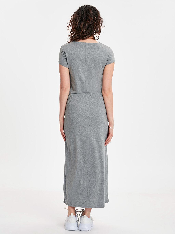 %60 Polyester %37 Viskoz %3 Elastan Uzun Kısa Kol Beli Büzgü Detaylı Uzun Elbise